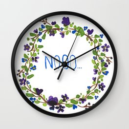 Nooo - floral wreath Wall Clock