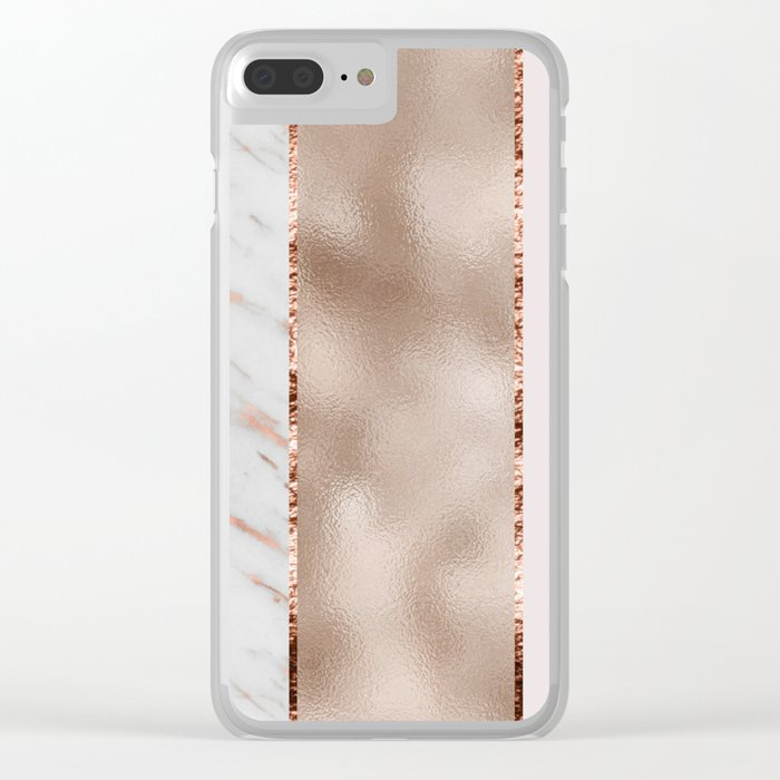 Rose metallic striping - marble and blush Clear iPhone Case
