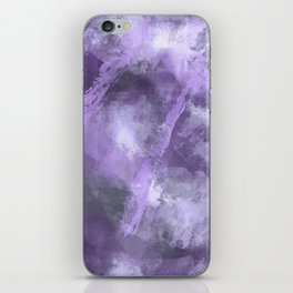 Stormy Abstract Art in Purple and Gray iPhone Skin