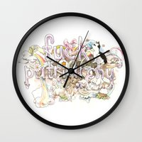 patriarchy Wall Clocks featuring Fuck Patriarchy by Beth Frey