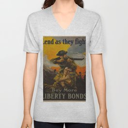 Vintage poster - Lend as They Fight Unisex V-Neck
