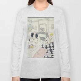 Brunch vintage nude hand colored blonde female male dining Long Sleeve T-shirt