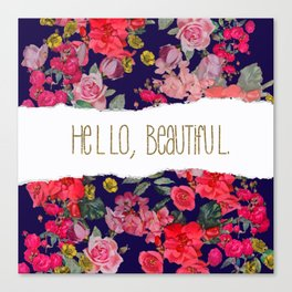 Hello Beautiful with Navy Background and Gold Text, Version2 Canvas Print