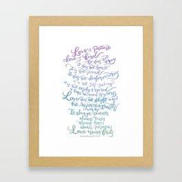 Love is patient, Love is Kind-1 Corinthians 13:4-8 Framed Art Print