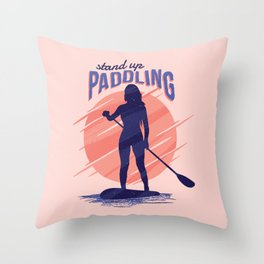 Stand Up Paddling Throw Pillow