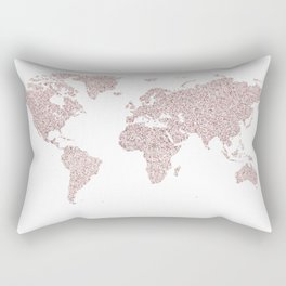 Confetti Sparkle World Map Rectangular Pillow