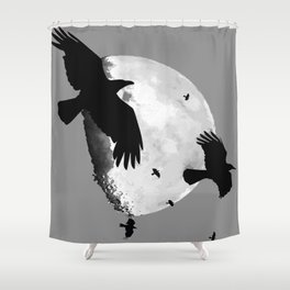 A Murder Of Crows Flying Across The Moon Shower Curtain
