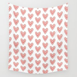 I Heart You in Pink and Coral Wall Tapestry