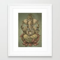 ganesha Framed Art Prints featuring Ganesha by Sumi Senthi