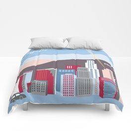Los Angeles, California - Skyline Illustration by Loose Petals Comforters