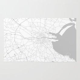 White on Light Grey Dublin Street Map Rug