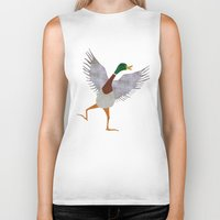 duck Biker Tanks featuring Duck by Jade Young Illustrations