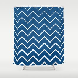 Classic Blue and White Zigzag Chevron Pattern Shower Curtain