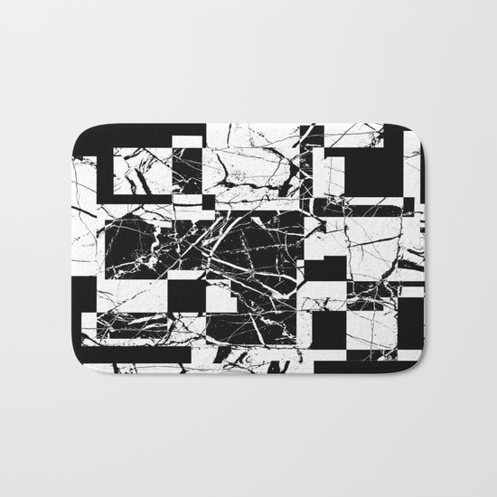 Manipulated Marble - Black and white, abstract, geometric, marble style art Bath Mat