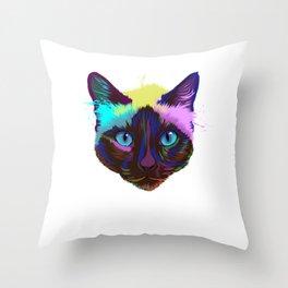 Splash Siamese Cat Throw Pillow