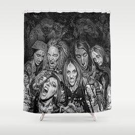 Spooky Halloween (B&W 3D) Shower Curtain