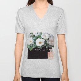 Fahion floral bag print Unisex V-Neck