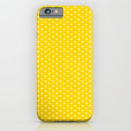 Small White Heart pattern On Yellow Background iPhone Case