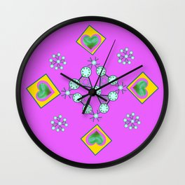 Four Hearts of Green Wall Clock