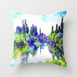 Claude Monet - Morning on the Seine, near Vetheuil 1878 Throw Pillow