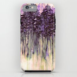 NORTHWEST VIBES Colorful Watercolor Painting Forest Trees Violet Green Modern Nature Art West Coast  iPhone Case