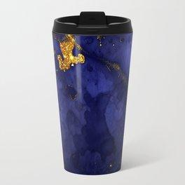 Gold Blue Indigo Malachite Marble Travel Mug