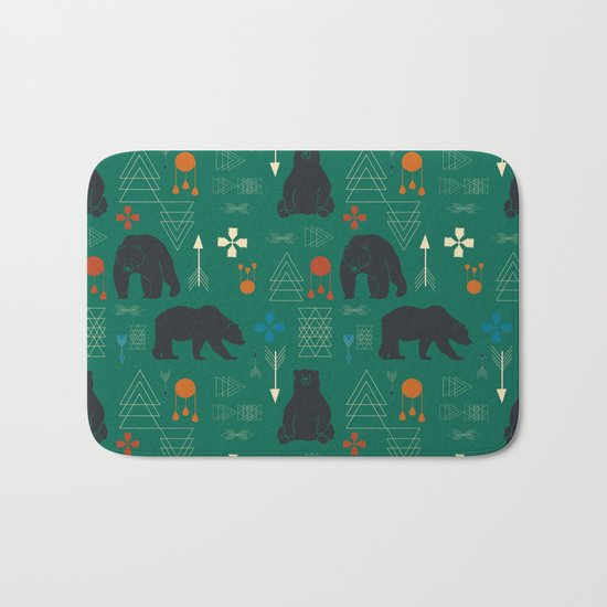 Tribal bear Green Bath Mat
