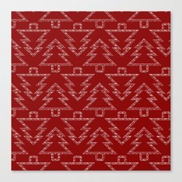 Merry Christmas- Abstract christmas tree pattern on festive red Canvas Print