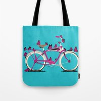 brompton Tote Bags featuring Butterfly Bicycle by Wyatt Design