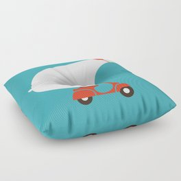 Polar bear on scooter Floor Pillow