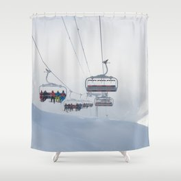Skiers on chairlift, Alps Shower Curtain