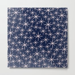 Starry Night - Midcentury Mod Retro Starbursts in Light Pink and Navy Blue Metal Print
