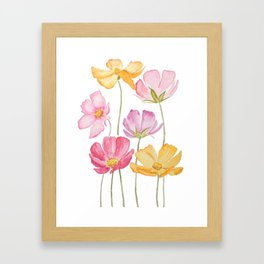 colorful cosmos flower Framed Art Print