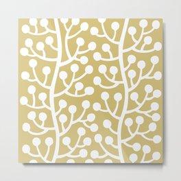 Beautiful Vine Pattern with Berries 424 Gold Metal Print