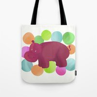 hippo Tote Bags featuring Hippo by Katy Welte