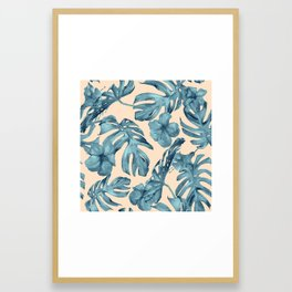 Island Vacay Hibiscus Palm Pale Coral Teal Blue Framed Art Print