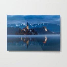 Bled lake at blue hour Metal Print