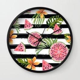 Watermelon black stripes Wall Clock