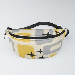 Retro Mid Century Modern Abstract Pattern 226 Yellow and Gray Fanny Pack