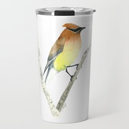 Cedar Waxwing in Watercolor Travel Mug