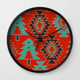 Navajo with pine trees Wall Clock