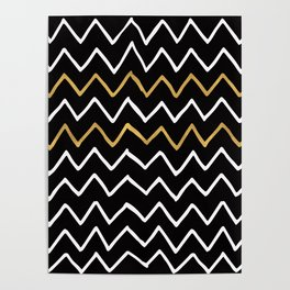 Writing Exercise - Simple Zig Zag Pattern- White Gold on Black - Mix & Match Poster