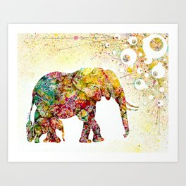 """""""Forever Young"""" Elephant Mother & Baby Art Print"""