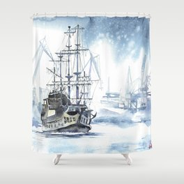 Harbour in Gdynia Shower Curtain