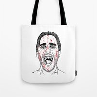 american psycho Tote Bags featuring American Psycho. by Saul Art