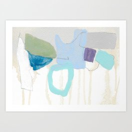 stone by stone 2 - abstract art fresh color turquoise, mint, purple, white, gray Art Print