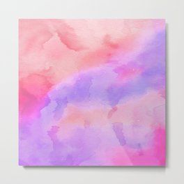 Hand painted pink violet coral abstract watercolor pattern Metal Print
