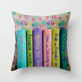 Jane Austen Library Throw Pillow