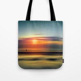 Bright Red - seascape sunset abstract Tote Bag