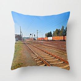 Summerau railway station   architectural photography Throw Pillow